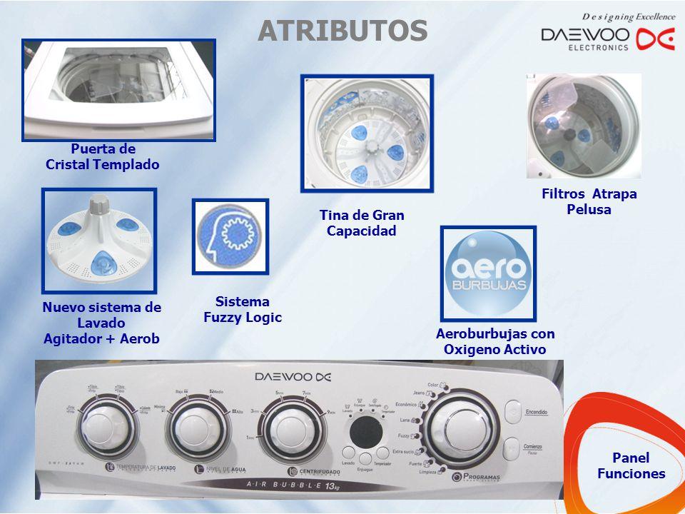 ATRIBUTOS Puerta de Cristal Templado Tina de Gran Capacidad Filtros Atrapa Pelusa Aeroburbujas con Oxigeno Activo Nuevo sistema de Lavado Agitador + A