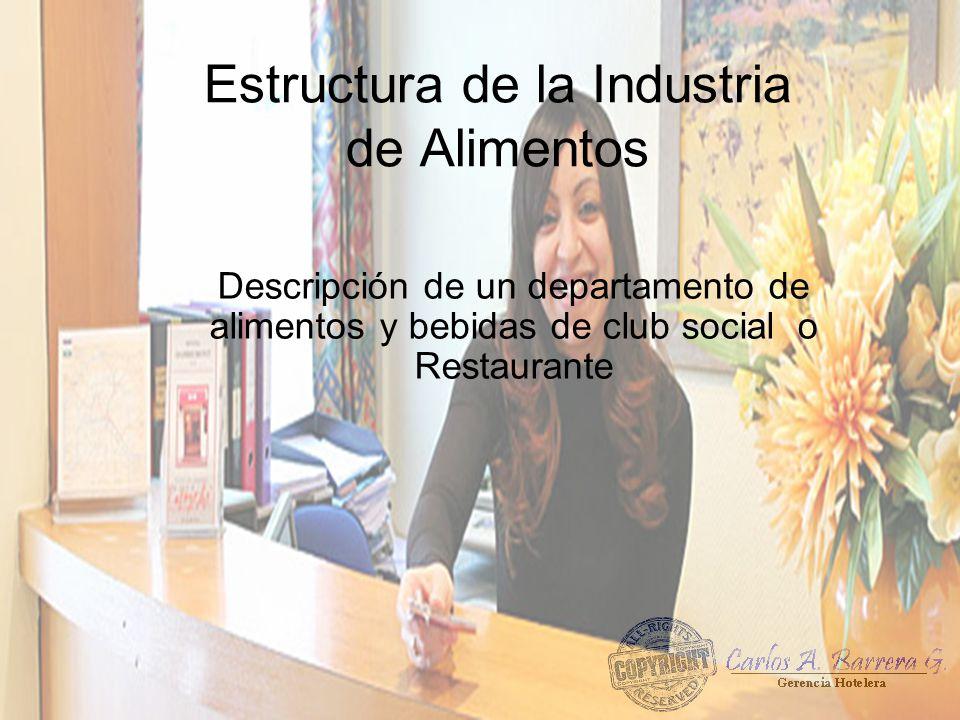 Estructura de la Industria de Alimentos Descripción de un departamento de alimentos y bebidas de club social o Restaurante