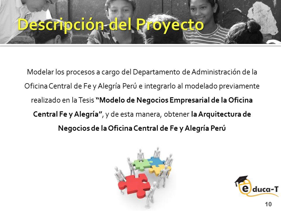 Modelar los procesos a cargo del Departamento de Administración de la Oficina Central de Fe y Alegría Perú e integrarlo al modelado previamente realiz