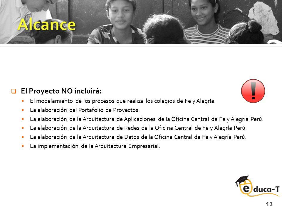 13  El Proyecto NO incluirá:  El modelamiento de los procesos que realiza los colegios de Fe y Alegría.  La elaboración del Portafolio de Proyectos