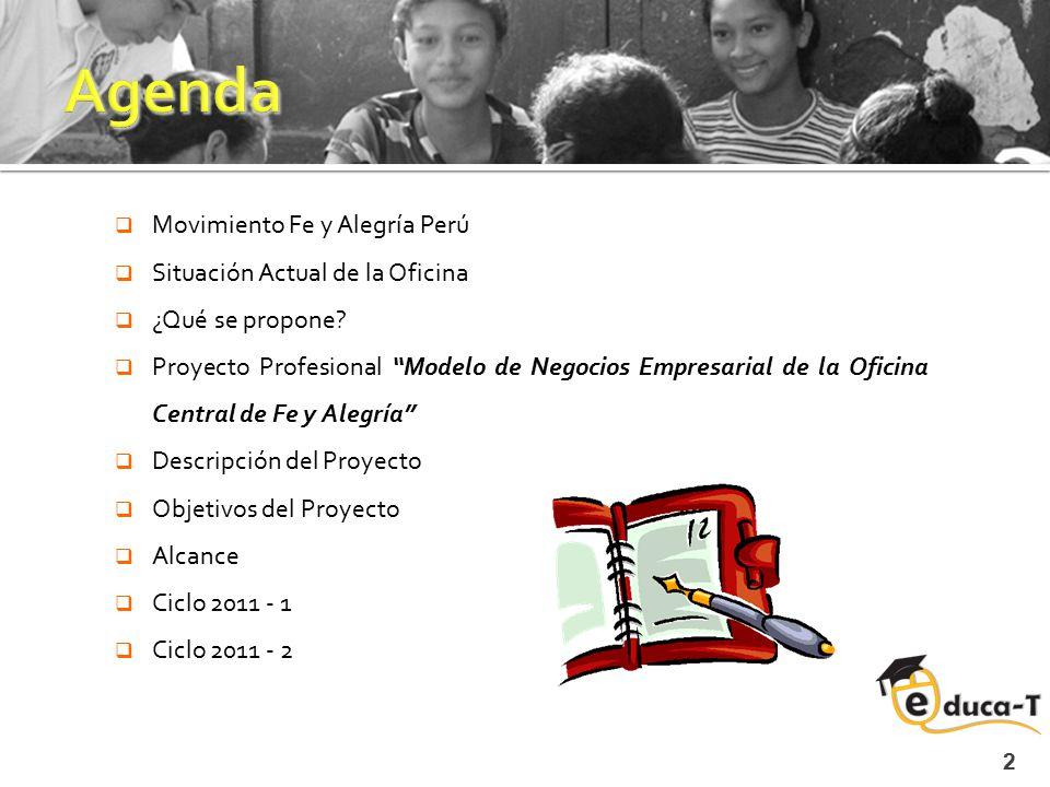""" Movimiento Fe y Alegría Perú  Situación Actual de la Oficina  ¿Qué se propone?  Proyecto Profesional """"Modelo de Negocios Empresarial de la Oficin"""