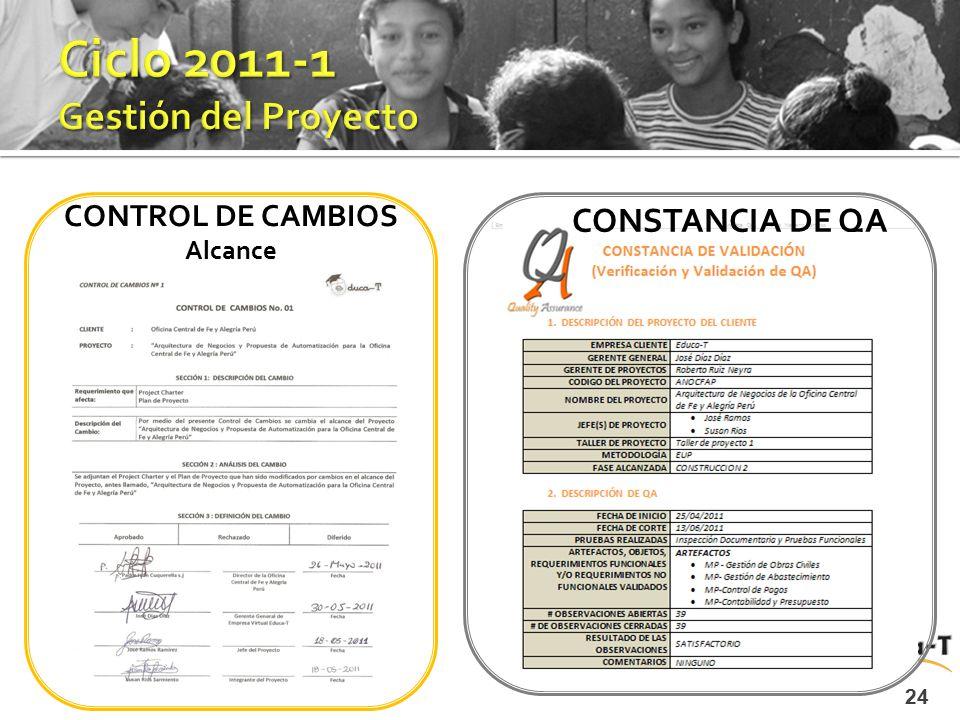 CONTROL DE CAMBIOS Alcance 24 CONSTANCIA DE QA