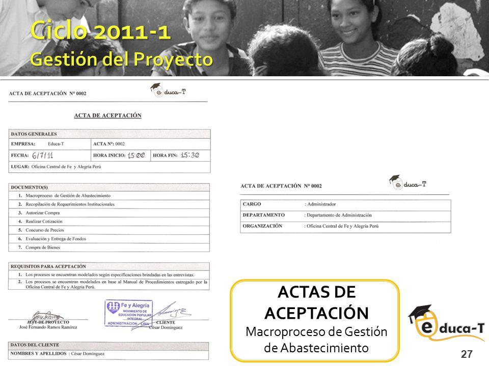27 ACTAS DE ACEPTACIÓN Macroproceso de Gestión de Abastecimiento