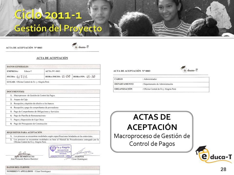 28 ACTAS DE ACEPTACIÓN Macroproceso de Gestión de Control de Pagos