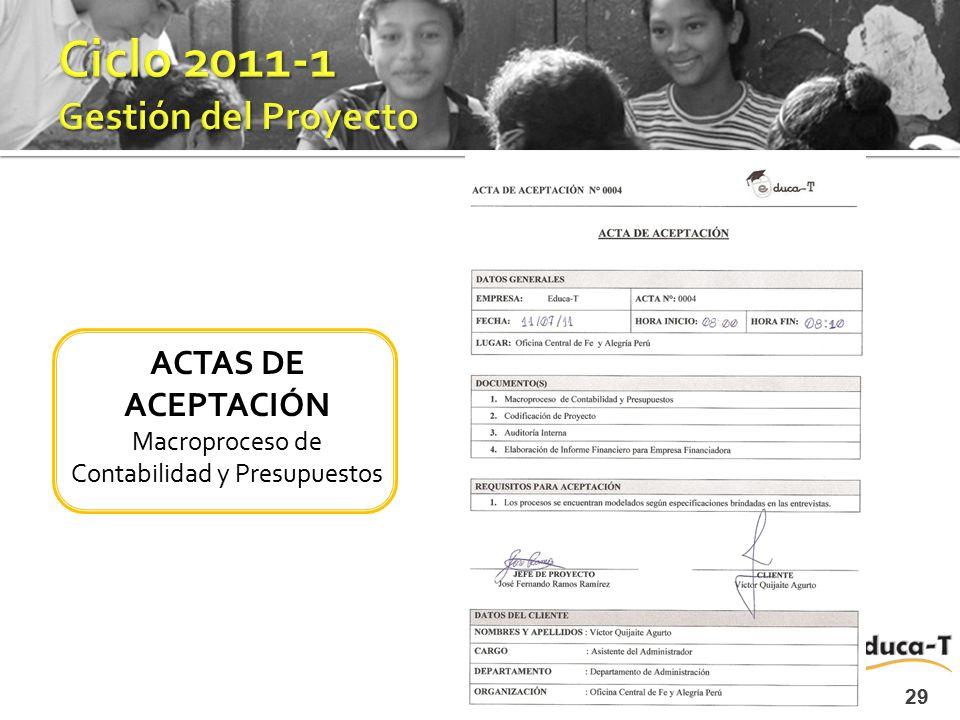 29 ACTAS DE ACEPTACIÓN Macroproceso de Contabilidad y Presupuestos