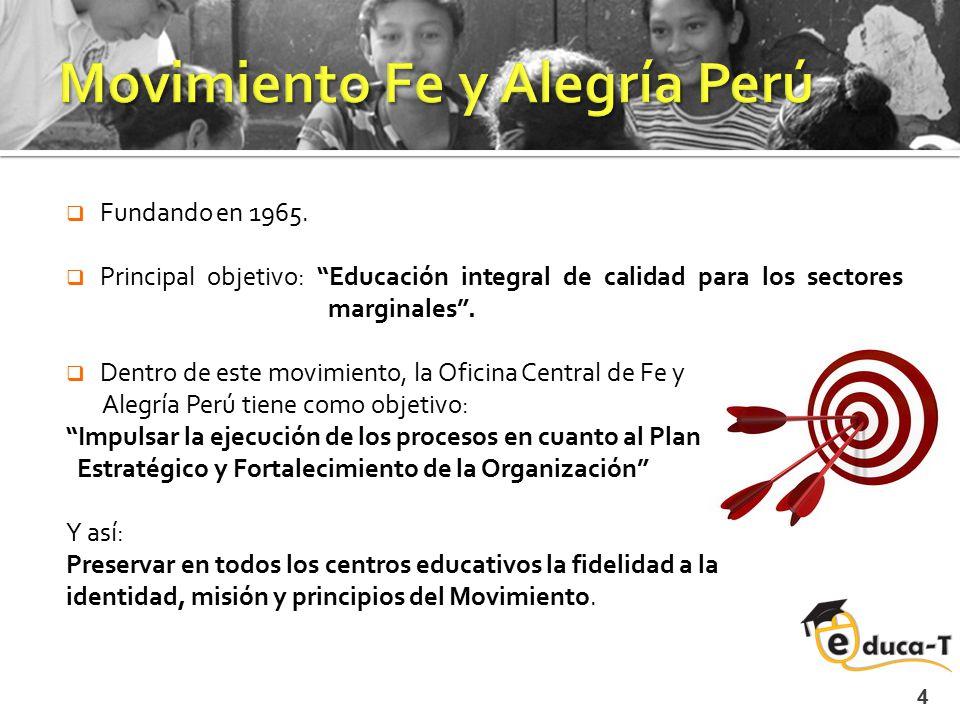 """ Fundando en 1965.  Principal objetivo: """"Educación integral de calidad para los sectores marginales"""".  Dentro de este movimiento, la Oficina Centra"""