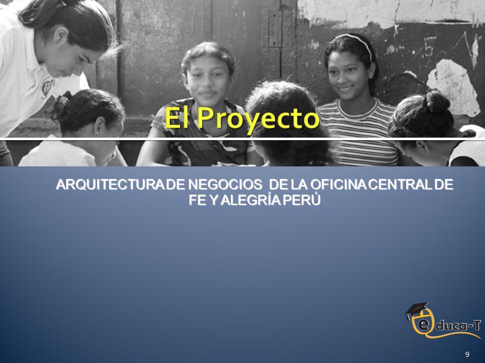 Modelar los procesos a cargo del Departamento de Administración de la Oficina Central de Fe y Alegría Perú e integrarlo al modelado previamente realizado en la Tesis Modelo de Negocios Empresarial de la Oficina Central Fe y Alegría , y de esta manera, obtener la Arquitectura de Negocios de la Oficina Central de Fe y Alegría Perú 10