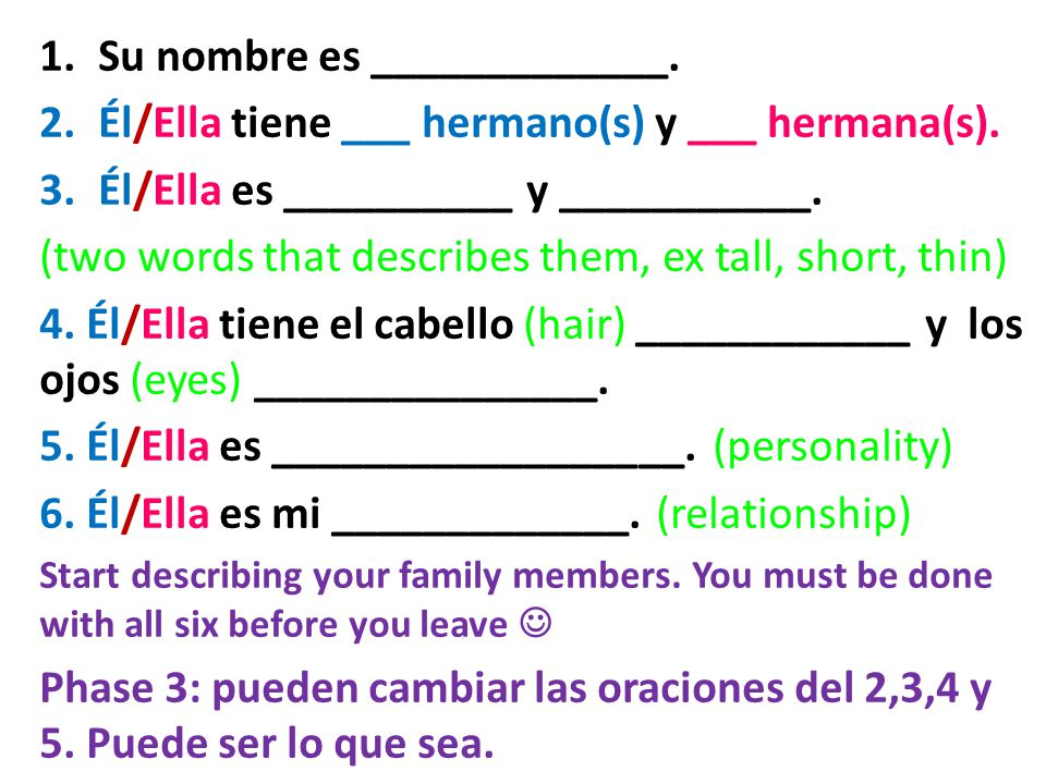What is their relationship to you. Él/Ella es mi _____________. Ex. Ella es mi mamá.