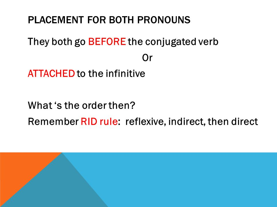 PLACEMENT FOR BOTH PRONOUNS They both go BEFORE the conjugated verb Or ATTACHED to the infinitive What 's the order then.