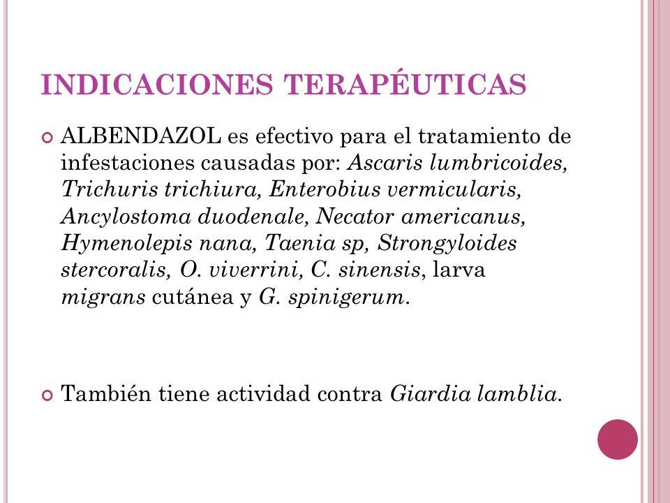 INDICACIONES TERAPÉUTICAS ALBENDAZOL es efectivo para el tratamiento de infestaciones causadas por: Ascaris lumbricoides, Trichuris trichiura, Entero