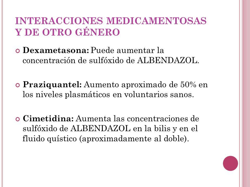 INTERACCIONES MEDICAMENTOSAS Y DE OTRO GÉNERO Dexametasona: Puede aumentar la concentración de sulfóxido de ALBENDAZOL. Praziquantel: Aumento aproxim