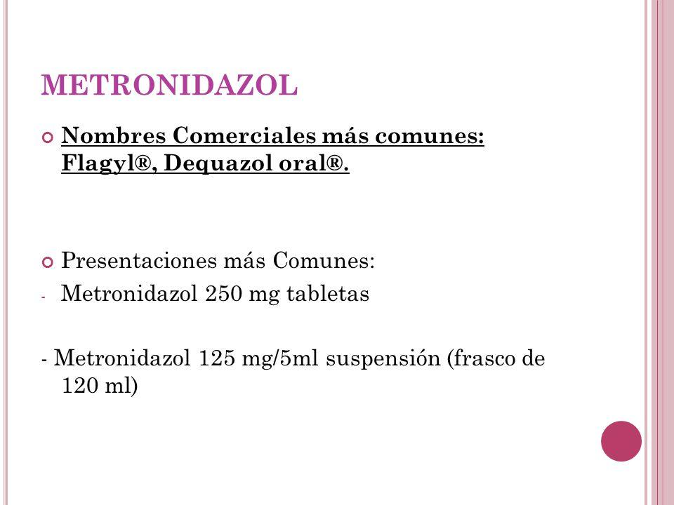 METRONIDAZOL Nombres Comerciales más comunes: Flagyl®, Dequazol oral®. Presentaciones más Comunes: - Metronidazol 250 mg tabletas - Metronidazol 125 m
