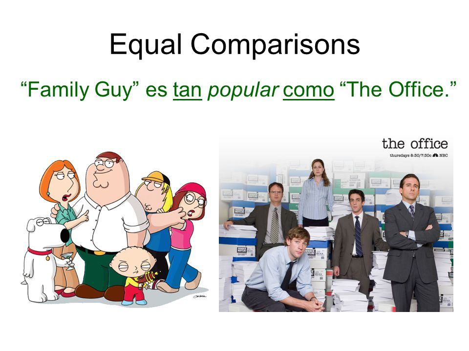 Equal Comparisons Family Guy es tan popular como The Office.