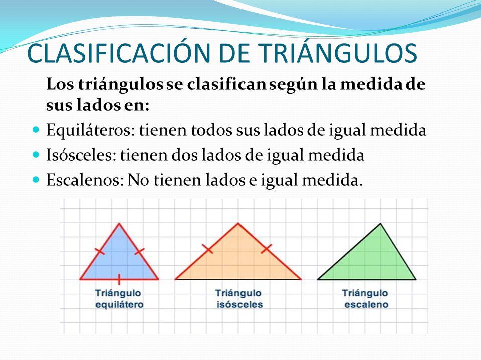 CLASIFICACIÓN DE TRIÁNGULOS Los triángulos se clasifican según la medida de sus lados en: Equiláteros: tienen todos sus lados de igual medida Isóscele