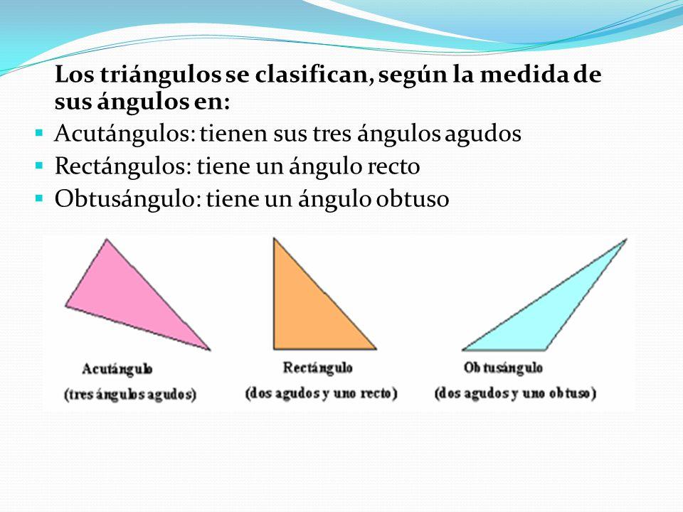 Los triángulos se clasifican, según la medida de sus ángulos en:  Acutángulos: tienen sus tres ángulos agudos  Rectángulos: tiene un ángulo recto 