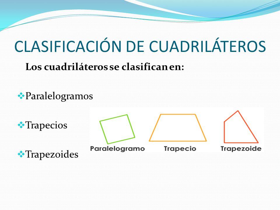 CLASIFICACIÓN DE CUADRILÁTEROS Los cuadriláteros se clasifican en:  Paralelogramos  Trapecios  Trapezoides