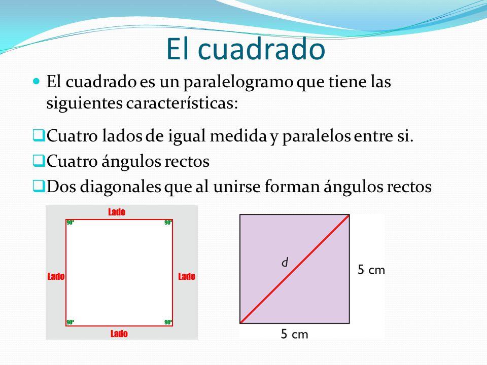 El cuadrado El cuadrado es un paralelogramo que tiene las siguientes características:  Cuatro lados de igual medida y paralelos entre si.  Cuatro án