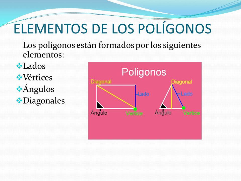 ELEMENTOS DE LOS POLÍGONOS Los polígonos están formados por los siguientes elementos:  Lados  Vértices  Ángulos  Diagonales