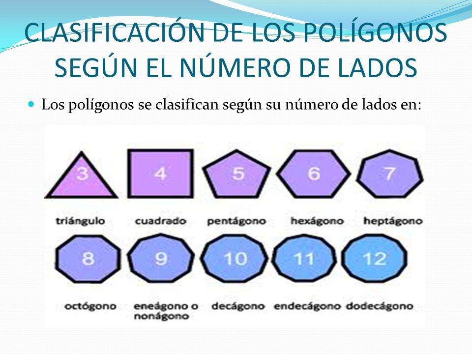 CLASIFICACIÓN DE LOS POLÍGONOS SEGÚN EL NÚMERO DE LADOS Los polígonos se clasifican según su número de lados en: