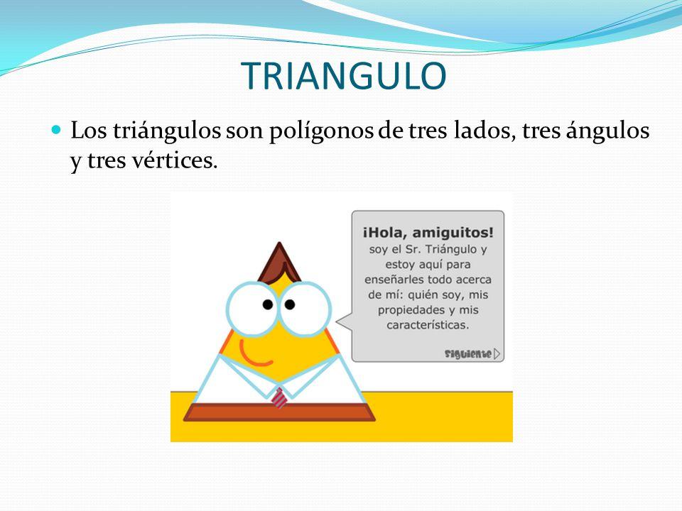 TRIANGULO Los triángulos son polígonos de tres lados, tres ángulos y tres vértices.