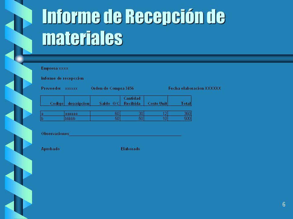 6 Informe de Recepción de materiales
