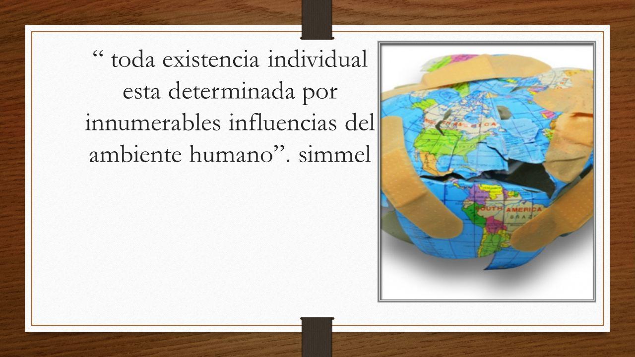 toda existencia individual esta determinada por innumerables influencias del ambiente humano .