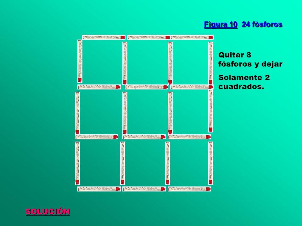 SOLUCIÓN Figura 10 24 fósforos Quitar 8 fósforos y dejar Solamente 2 cuadrados.