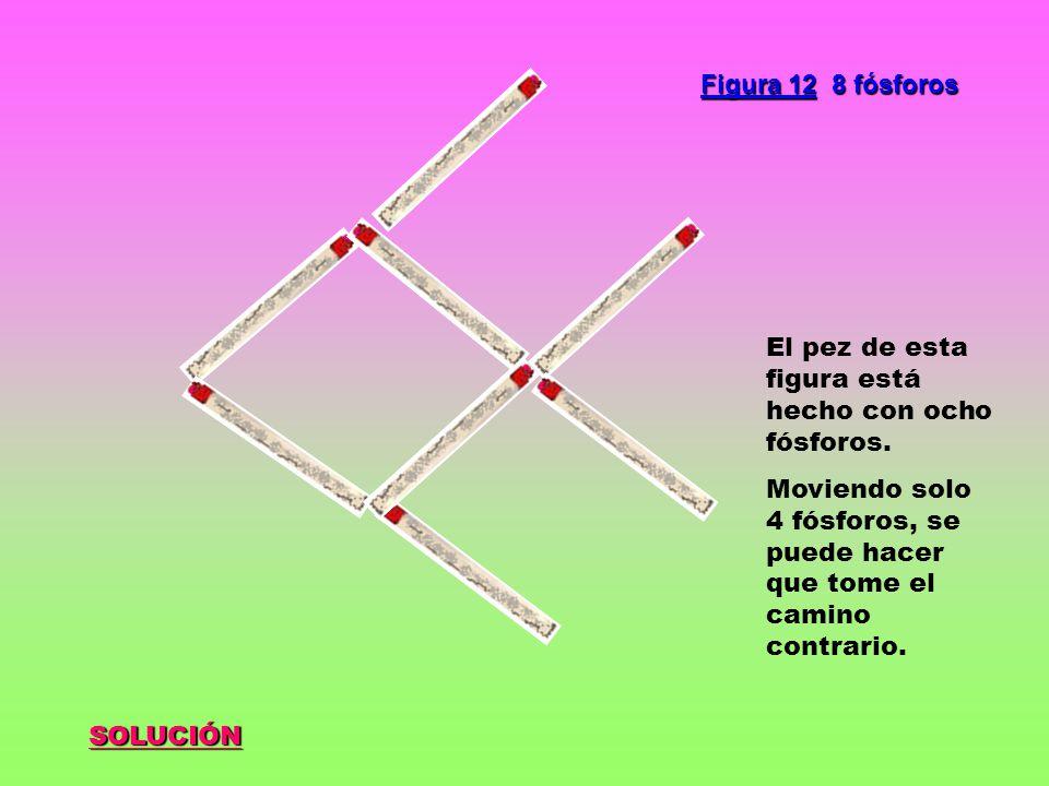 SOLUCIÓN Figura 12 8 fósforos El pez de esta figura está hecho con ocho fósforos. Moviendo solo 4 fósforos, se puede hacer que tome el camino contrari