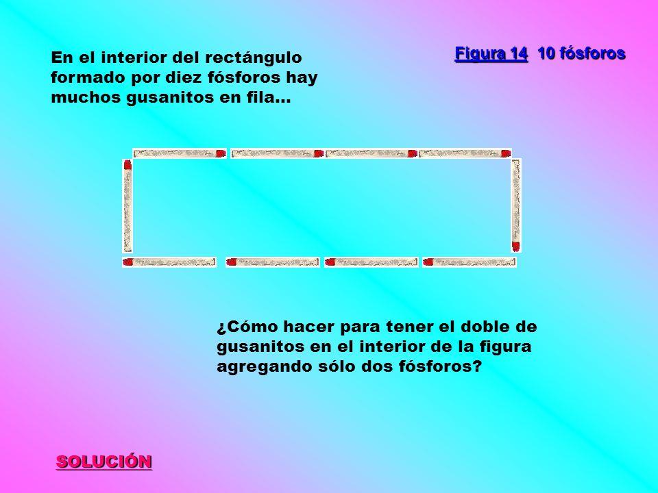 SOLUCIÓN Figura 14 10 fósforos En el interior del rectángulo formado por diez fósforos hay muchos gusanitos en fila... ¿Cómo hacer para tener el doble