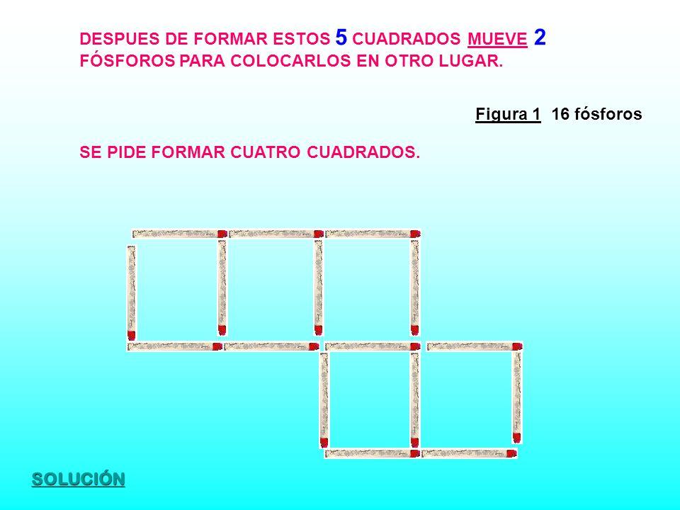 Figura 1 16 fósforos DESPUES DE FORMAR ESTOS 5 CUADRADOS MUEVE 2 FÓSFOROS PARA COLOCARLOS EN OTRO LUGAR. SE PIDE FORMAR CUATRO CUADRADOS. SOLUCIÓN
