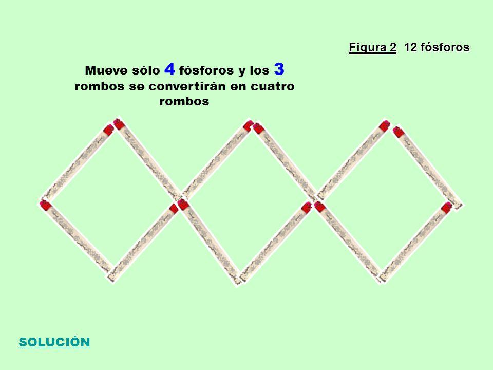Figura 2 12 fósforos Mueve sólo 4 fósforos y los 3 rombos se convertirán en cuatro rombos SOLUCIÓN