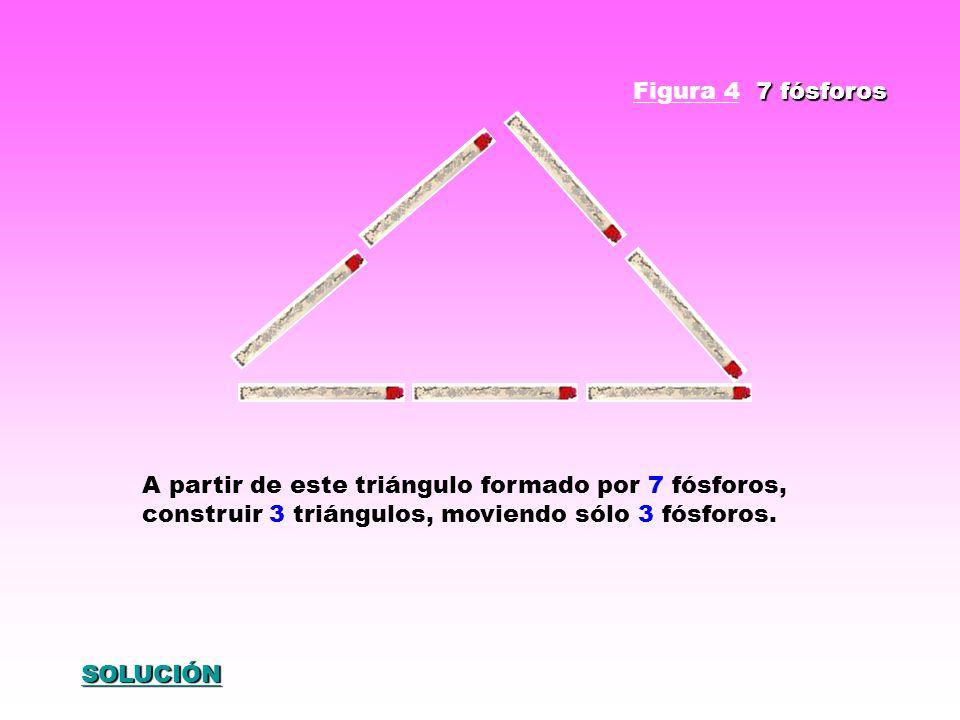 A partir de este triángulo formado por 7 fósforos, construir 3 triángulos, moviendo sólo 3 fósforos. 7 fósforos Figura 4 7 fósforos