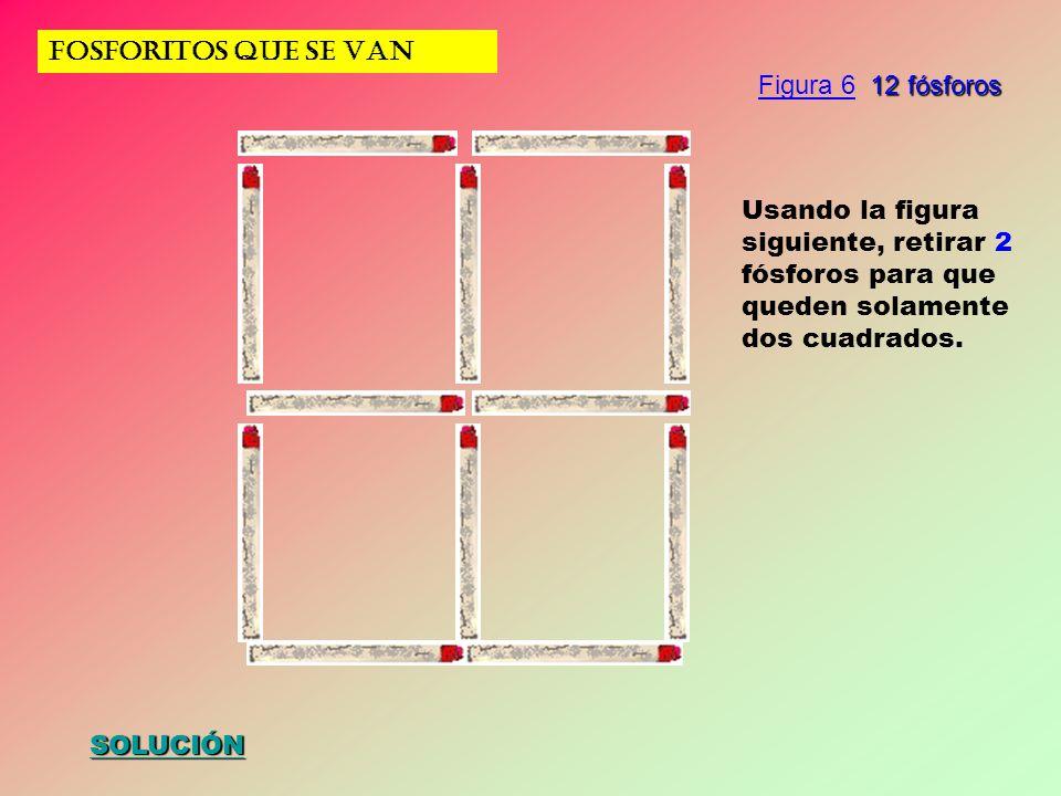 FOSFORITOS QUE SE VAN SOLUCIÓN Usando la figura siguiente, retirar 2 fósforos para que queden solamente dos cuadrados. 12 fósforos Figura 6 12 fósforo