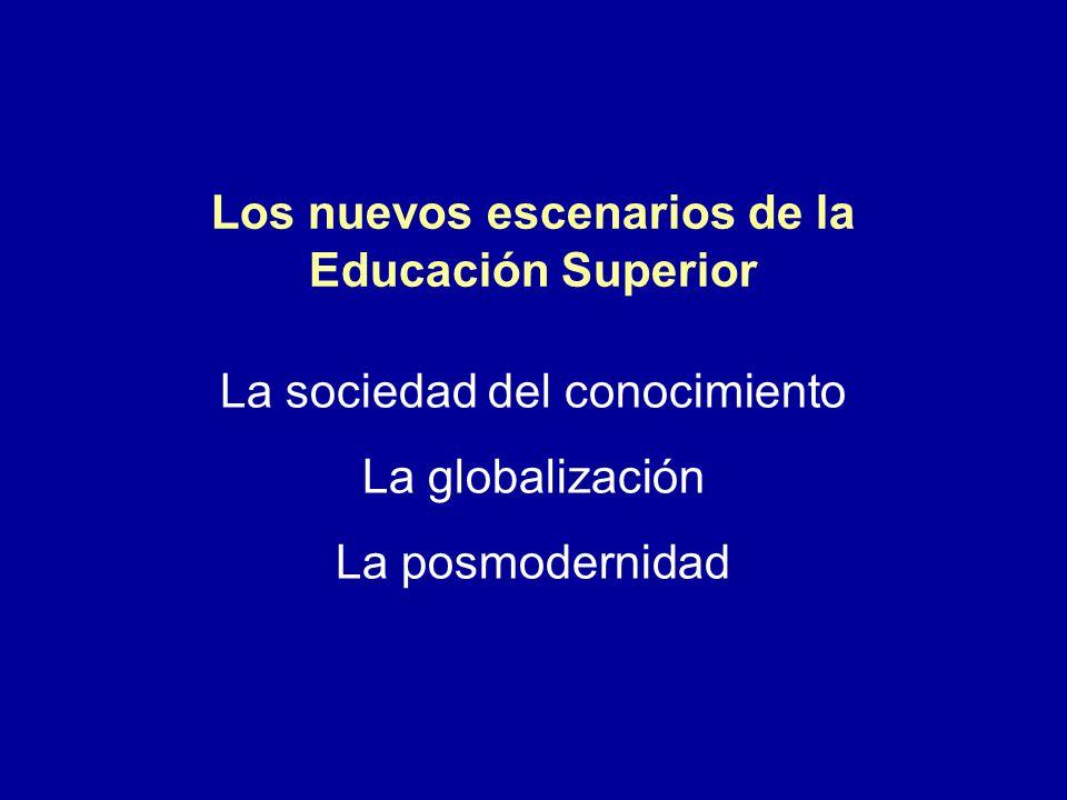 Los nuevos escenarios de la Educación Superior La sociedad del conocimiento La globalización La posmodernidad