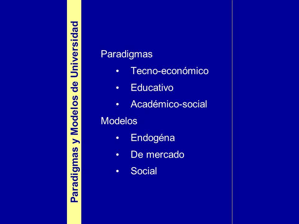 Paradigmas Tecno-económico Educativo Académico-social Modelos Endogéna De mercado Social Paradigmas y Modelos de Universidad