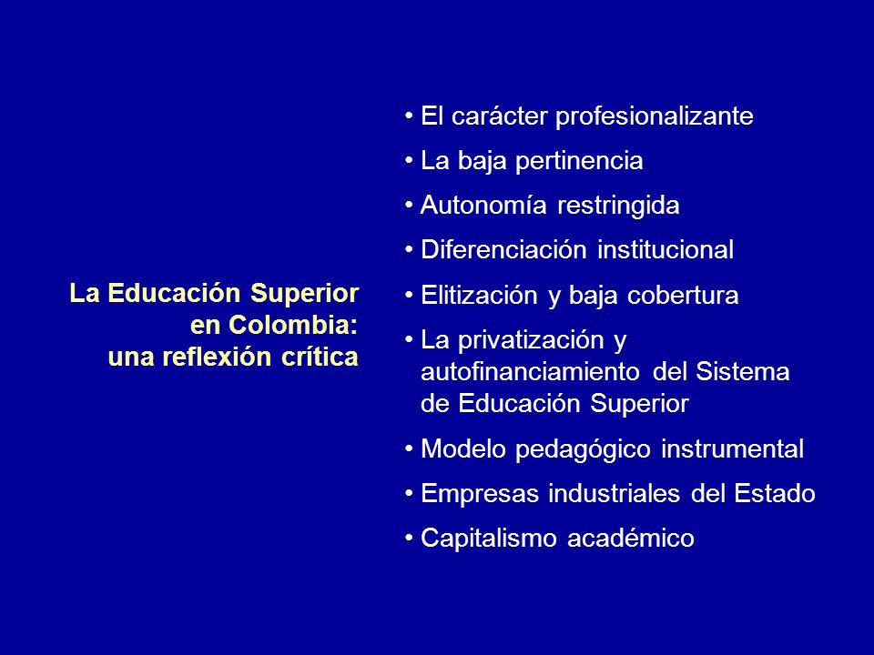 El carácter profesionalizante La baja pertinencia Autonomía restringida Diferenciación institucional Elitización y baja cobertura La privatización y a