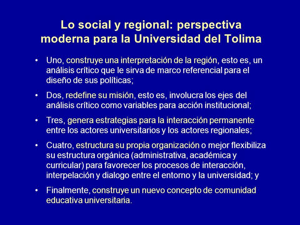 Lo social y regional: perspectiva moderna para la Universidad del Tolima Uno, construye una interpretación de la región, esto es, un análisis crítico
