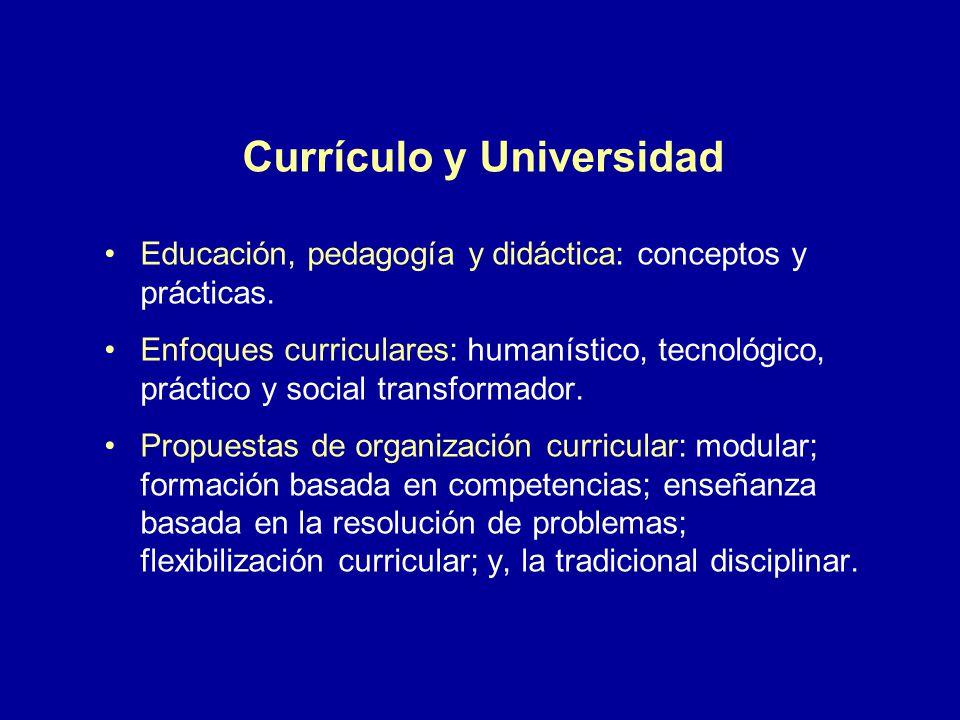 Currículo y Universidad Educación, pedagogía y didáctica: conceptos y prácticas. Enfoques curriculares: humanístico, tecnológico, práctico y social tr