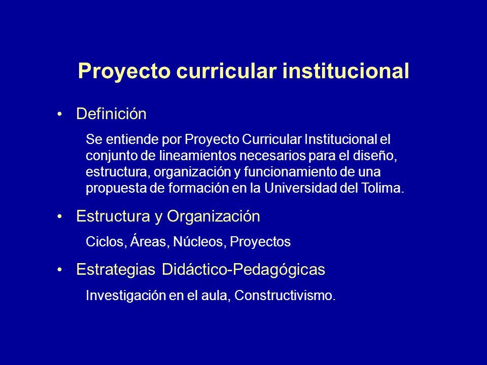 Proyecto curricular institucional Definición Se entiende por Proyecto Curricular Institucional el conjunto de lineamientos necesarios para el diseño,