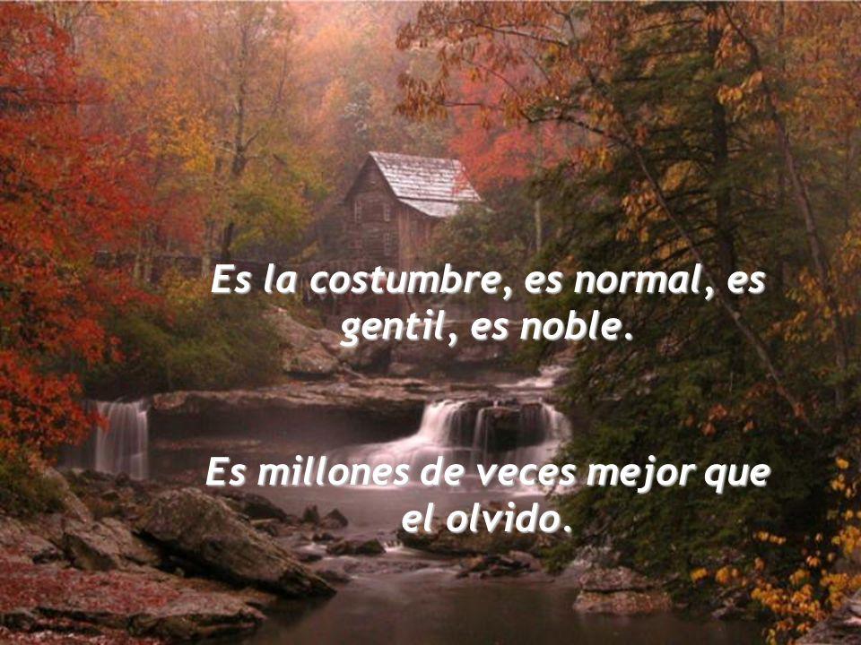 Es la costumbre, es normal, es gentil, es noble. Es millones de veces mejor que el olvido.