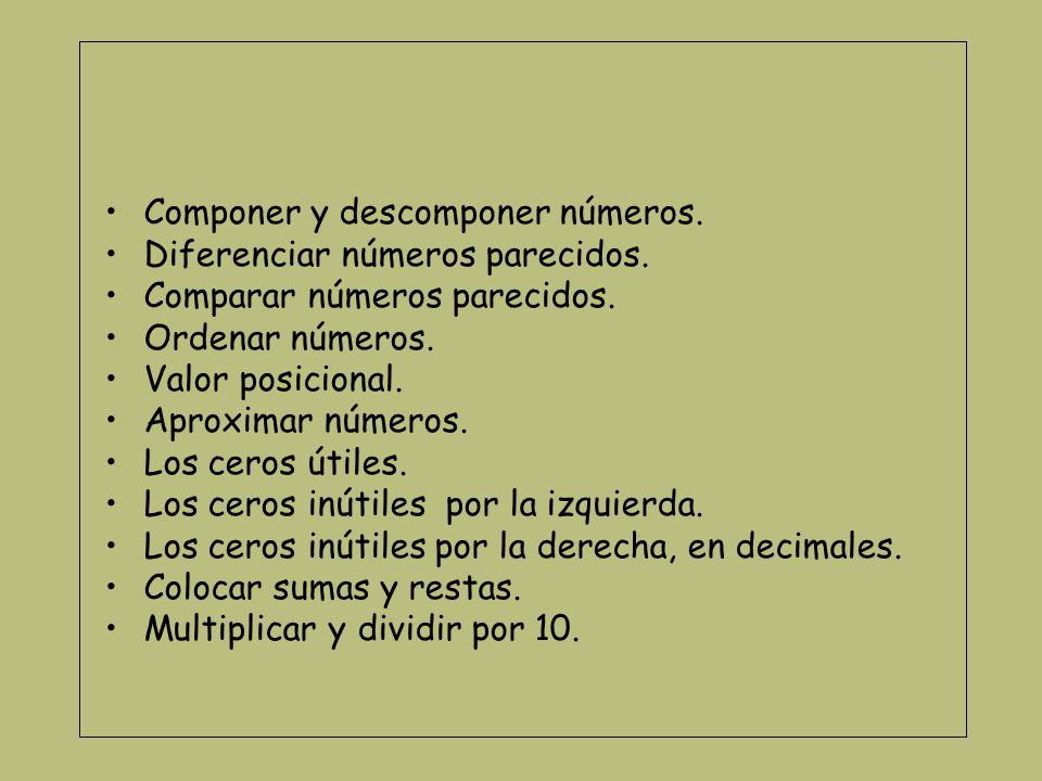 Componer y descomponer números Componer el número de 3 decenas y cinco unidades ¿Qué número sale.