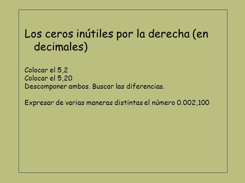 Colocar sumas (de enteros o de decimales) Coloca en un cartón 6,21 En otro cartón 45,2 Prepara los cartones para sumarlos.