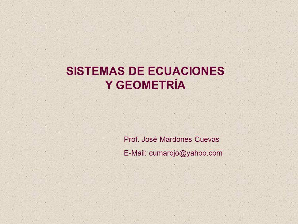 SISTEMAS DE ECUACIONES Y GEOMETRÍA Prof. José Mardones Cuevas E-Mail: cumarojo@yahoo.com
