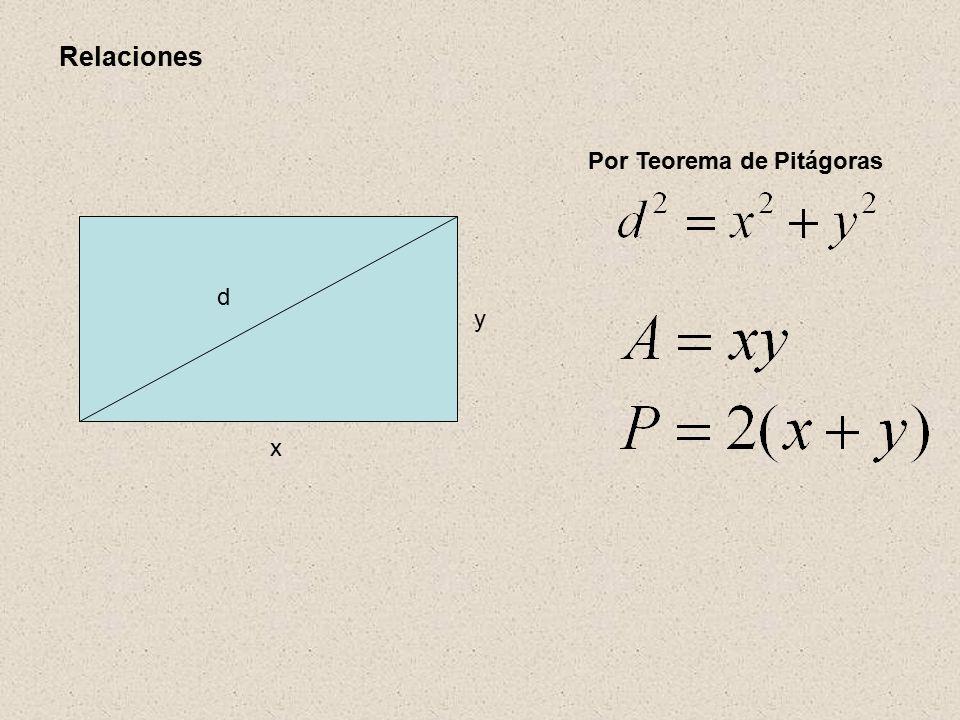 Relaciones d x y Por Teorema de Pitágoras
