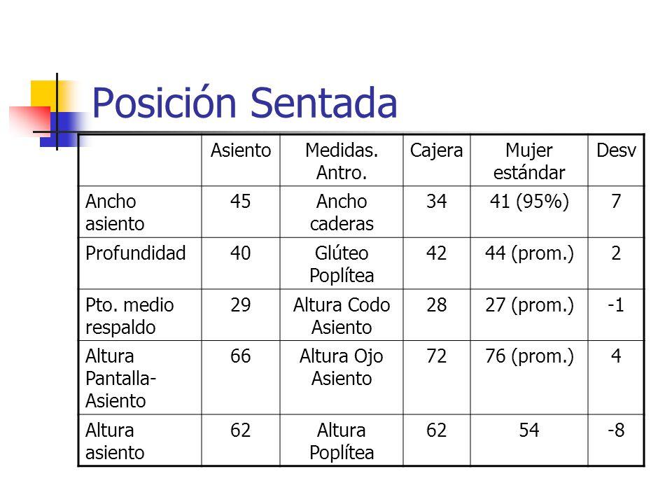 Postura de pié Tiene exigencias visuales como: Lectura de Instrumentos.