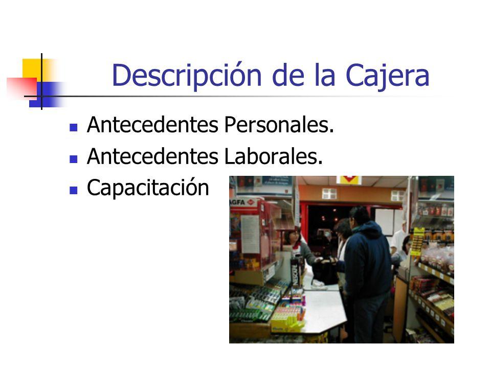 Descripción de la Cajera Antecedentes Personales. Antecedentes Laborales. Capacitación
