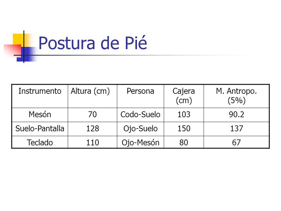 Postura de Pié InstrumentoAltura (cm)PersonaCajera (cm) M.