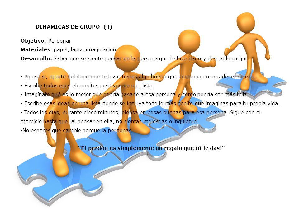 DINAMICAS DE GRUPO (4) Objetivo: Perdonar Materiales: papel, lápiz, imaginación.