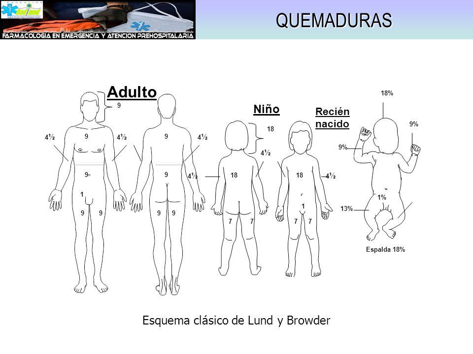 QUEMADURAS 9 9 9 9 9999 9 4½4½ 4½4½ 4½4½ Adulto 1 18 7777 1 4½4½ 4½4½ 4½4½ Niño 13% 18% 9% 13% Espalda 18% Recién nacido 1% Esquema clásico de Lund y