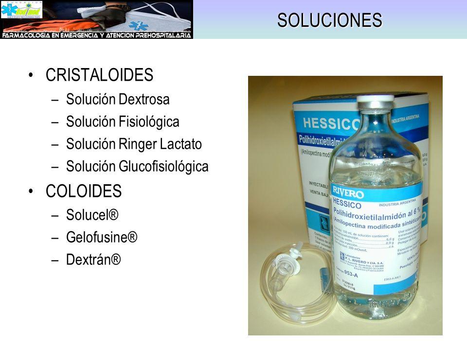 CLORURO DE SODIO (Solución Fisiológica) MECANISMO DE ACCION –Reposición de Sodio y Líquido intravascular –Osmolaridad similar al Plasma INDICACIONES –Deshidratación –Hiponatremia DOSIS / ADMINISTRACION –25 – 50 cc/Kg IV –Evaluar Respuesta EFECTOS ADVERSOS –Hipernatremia PRESENTACION –0,9%.